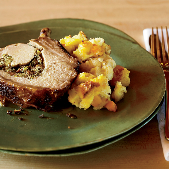Roasted Rack of Pork with Sausage Stuffing