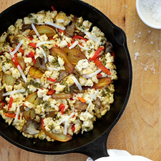 Scrambled Tofu with Potatoes, Mushrooms and Peppers