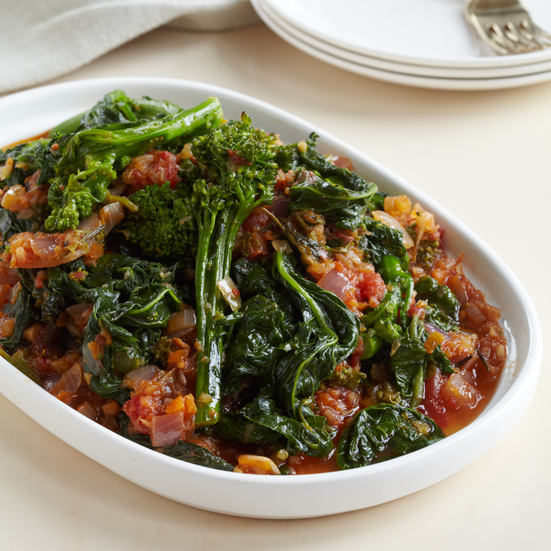 Stewed Broccoli Rabe with Spicy Tomato Sauce