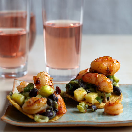 Tequila-Flamed Shrimp Tostadas