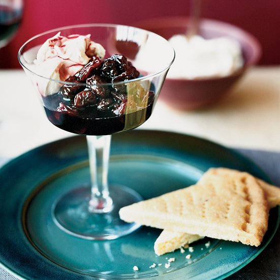 Dried Cherry Compote with Shortbread and Mascarpone