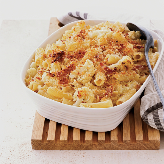 Parmigiano-Crusted Rigatoni with Cauliflower and Prosciutto