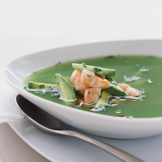 Chilled Cucumber Soup with Salt-Roasted Shrimp