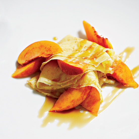 Cormeal Crêpes with Peaches and Caramel