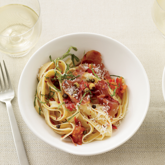 Fettuccine with Tomatoes and Crispy Capers