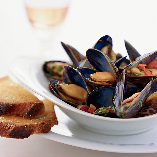 Mussels with Speck, Lemon and Oregano