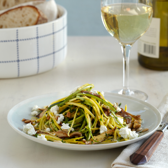 "Squash and Zucchini ""Linguine"" with Goat Cheese"