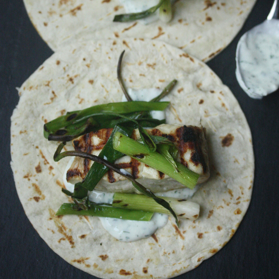 Grilled Fish Tacos with Scallions and Cilantro Crema