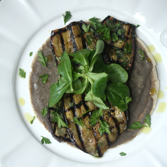 Open-Faced Buckwheat Crêpes with Grilled Eggplant and Mâche