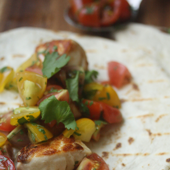 Seared Fish Tacos with Cherry Tomato Pico de Gallo