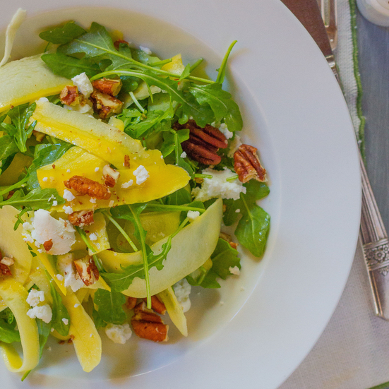 Shaved Yellow Squash with Arugula, Goat Cheese, and Pecans
