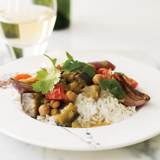 Eggplant, Chickpea and Tomato Curry