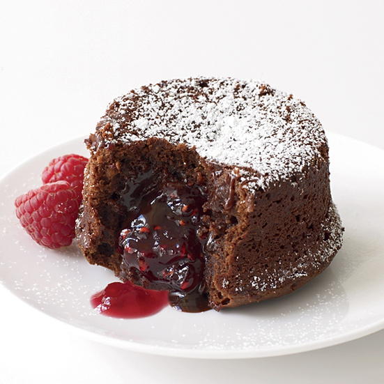 Molten Chocolate Cake with Raspberry Filling
