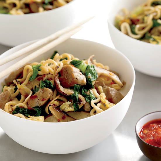 Asian Pork, Mushroom and Noodle Stir-Fry