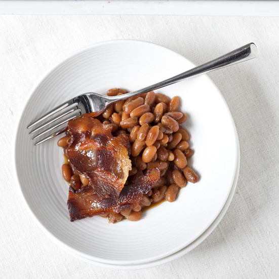 Baked Beans with Maple-Glazed Bacon