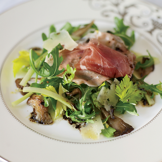 Arugula Salad with Prosciutto and Oyster Mushrooms