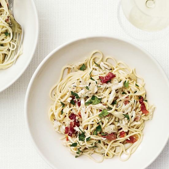 Angel-Hair Pasta with Crab and Country Ham
