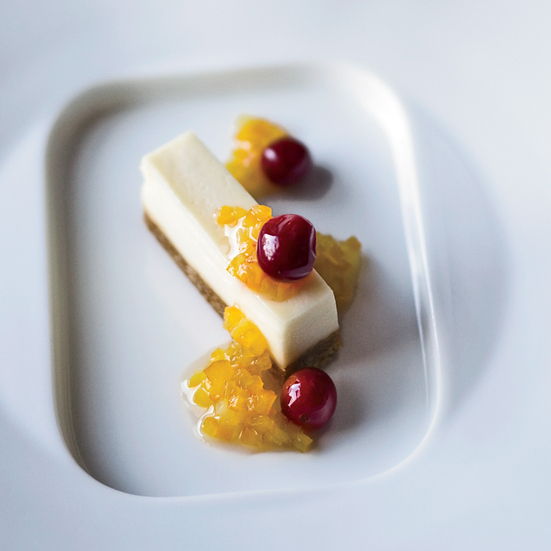 Goat Cheese Cheescake with Honeyed Cranberries