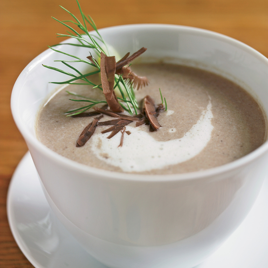 Mushroom Soup with Toasted Bread