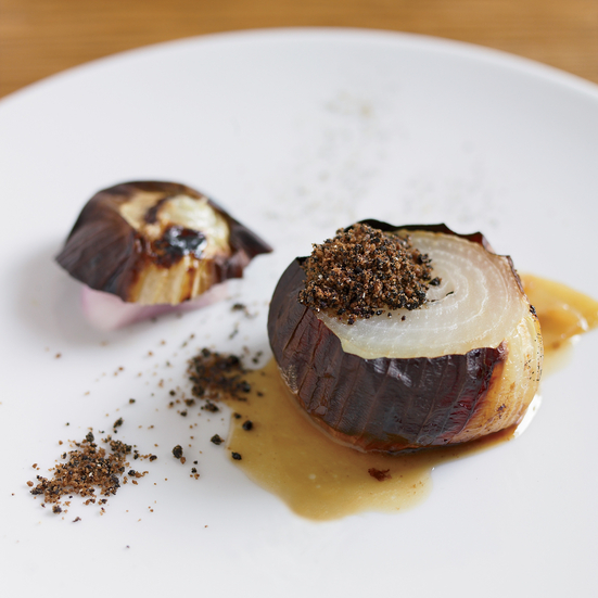 "Slow-Roasted Sweet Onions with ""Licorice"" Powder"