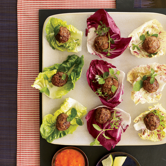 Asian Meatball Wraps