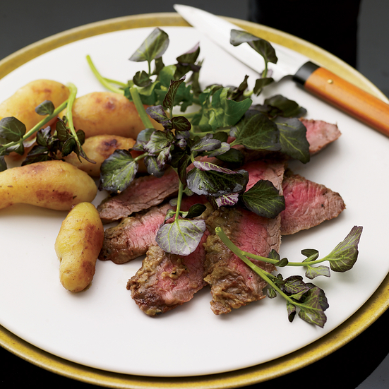 Wasabi Flank Steak and Miso-Glazed Potatoes