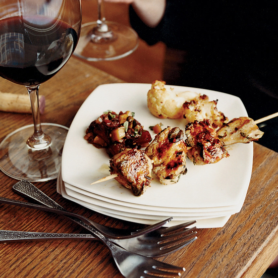 Herb-Marinated Chicken Skewers with Harissa