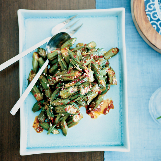 Spicy Fried Okra with Crispy Shallots