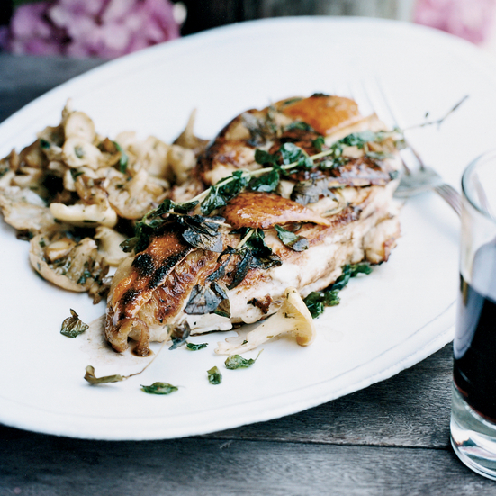 Grilled Chicken Breasts with Sautéed Mushrooms