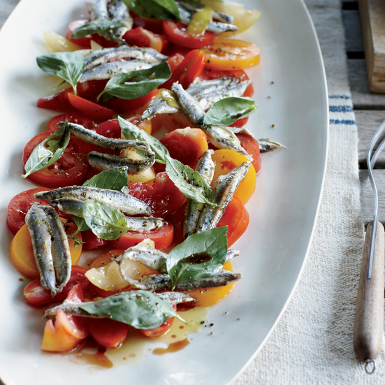 Tomato-and-Anchovy Salad with Garlic Cream