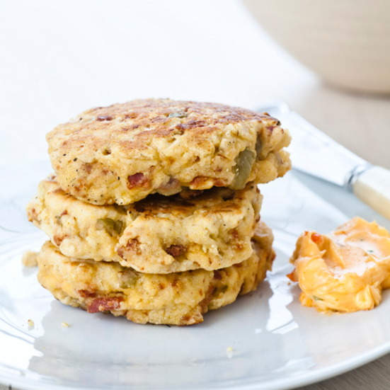Chorizo-Olive Griddle Cakes with Chile Butter