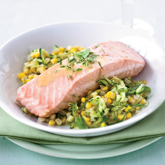 Poached Salmon with Corn and White Wine-Butter Sauce