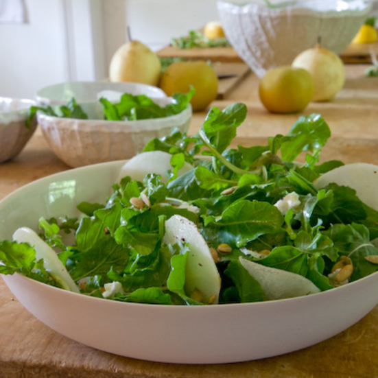 Asian Pear and Arugula Salad with Goat Cheese
