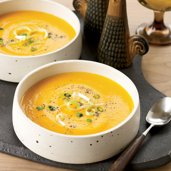 Creamy Carrot Soup with Scallions and Poppy Seeds