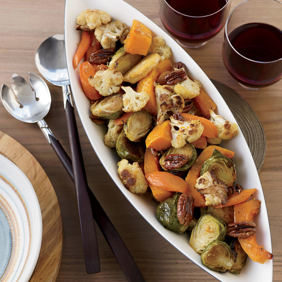 Maple-Ginger-Roasted Vegetables with Pecans