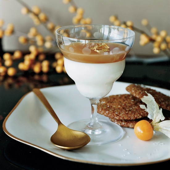 Vanilla-and-Cider Panna Cottas with Spiced-Ginger Cookies