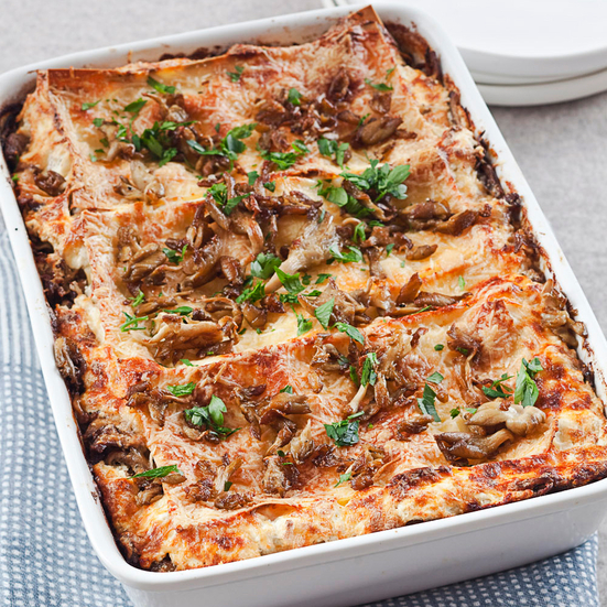 Lasagna with Mushrooms and Lamb Sausage