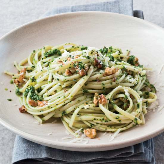 Linguine with Broccoli Rabe-Walnut Pesto