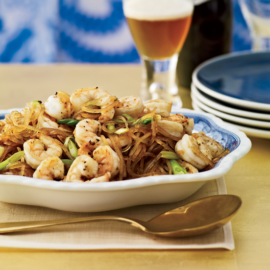 Pan-Seared Sichuan Shrimp with Mung Bean Noodles