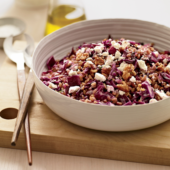 Warm Grains with Red Cabbage and Ricotta Salata