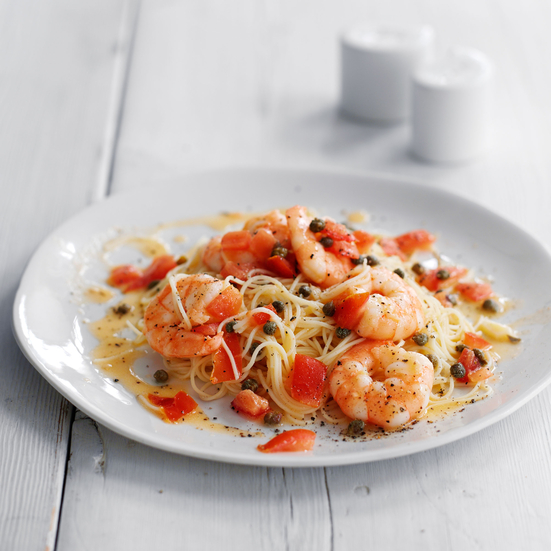 Capellini with Shrimp, Capers and Tomatoes