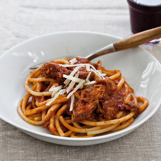 Slow Cooker Sunday Sauce on Spaghetti