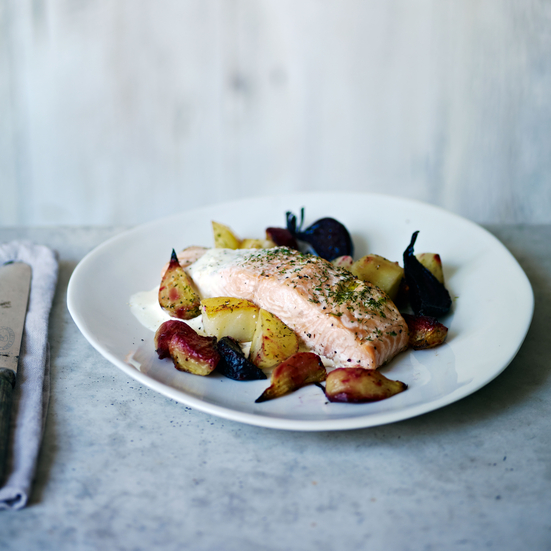 Roasted Salmon, Beets, and Potatoes with Horseradish Cream