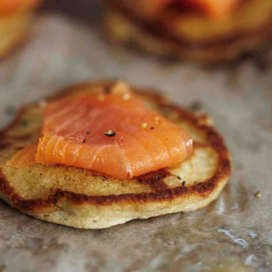 Buckwheat-Cheddar Blini with Smoked Salmon
