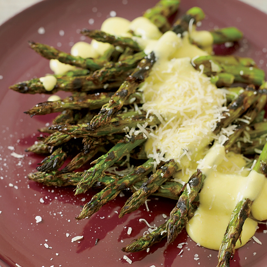 Grilled Asparagus with Pepper Zabaglione