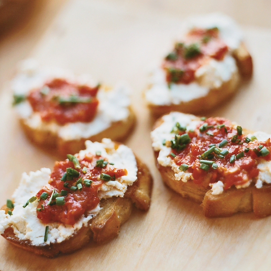 Goat Cheese Crostini with Pickled Peppers