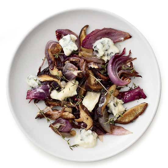 Gorgonzola-Roasted Mushrooms and Onions