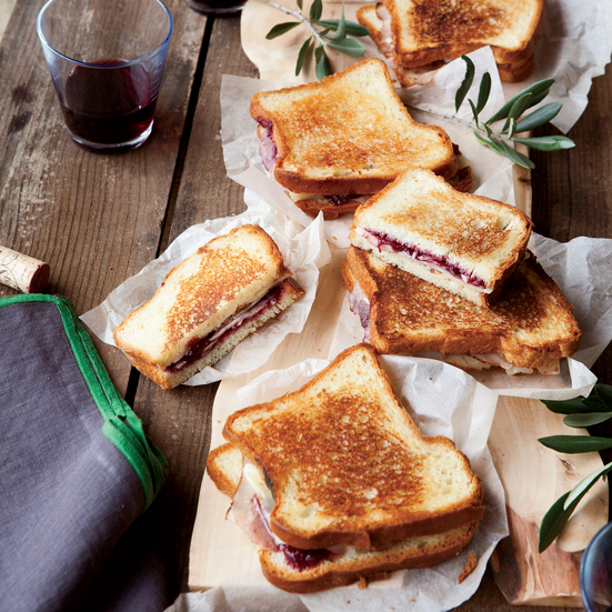 Grilled Ham and Cheese with Strawberry-Red-Wine Jam