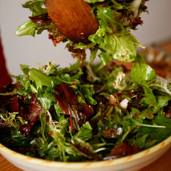 Mesclun Salad with Fried Shallots and Blue Cheese