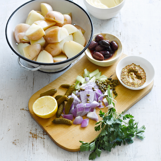 Creamy Potato Salad with Olives, Cornichons and Capers